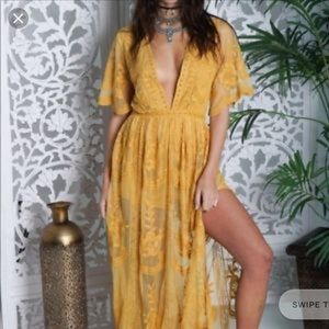 Honey Punch mustard lace dress
